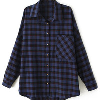 ROMWE Furry STRIKE Checkered Long-sleeves Blue Shirt