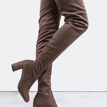 Suede Chunky Heel Thigh High Boots TAUPE