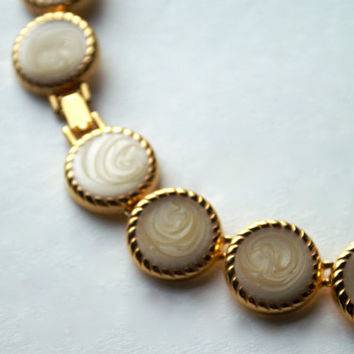 Vintage Cream Swirl Coin Necklace