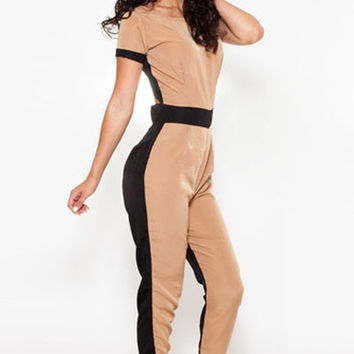 Black Khaki Cut-out Back Jumpsuit
