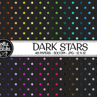 50% off SALE!! 48 Dark Stars Digital Paper • Rainbow Digital Paper • Commercial Use • Instant Download • #STARS-103-1-D