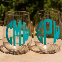 3 Decorative Stemless Glasses Monogram Engagements Wedding Party Gifts Bachelor Bachelorette Parties, Bridesmaid Groomsmen Gifts