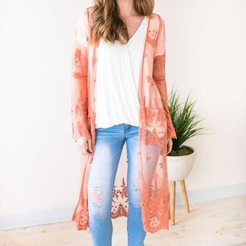 Lost In Time Long Lace Kimono - Dusty Coral