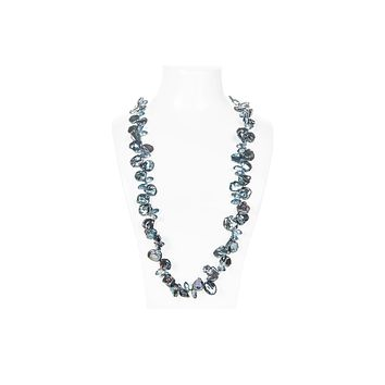 Blue Freshwater Keshi Pearl and Crystal Long Necklace