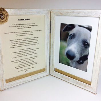 Pet remembrance photo frame, Rainbow bridge frame, pet memorial, pet loss frame, dog and cat sympathy frame, pet loss gift, double frame