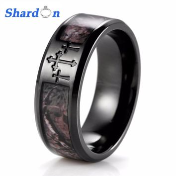 SHARDON Men's Black Three Cross Camo Ring Titanium Outdoor Camouflage Anniversary Band Wedding Ring for Men-8mm