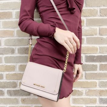 Michael Kors Hayes Small Clutch Crossbody Pink Brown Signature