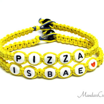 Set of Two Bracelets, Pizza is BAE, Bright Yellow Hemp Jewelry for Pizza Lovers