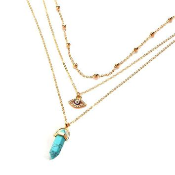 Bohemian Opal Stone Chokers Necklaces Multi-Layer Crystal Eye Pendant