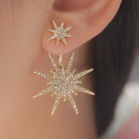 Big Double Six-Pointed Star Stud Earrings