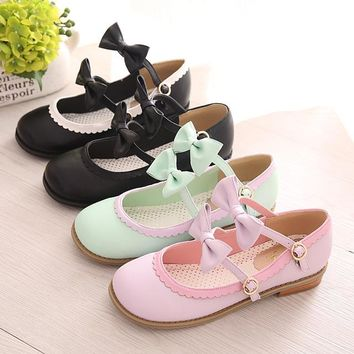 Lolita Dancing Shoes Flat Heel Shoes Princess Shoes Bowtie Single Shoes Free Shipping