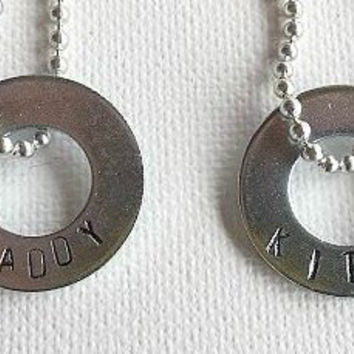 BDSM Jewelry, Daddy Dom, Kitten, His Her Jewelry, Fetish Wear, Dominant Submissive Jewelry, Hand Stamped, Washer Necklaces