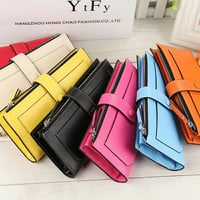 2016 New Fashion Women Wallets 11 Card Horder Clutch Purse Multifunctional Wristlet Bags Carteira Feminina  smb768
