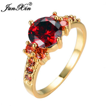 JUNXIN Big Round Charming Red Rings For Men And Women Yellow Gold Filled Wedding Engagement Rings Fashion Ruby Jewelry  Gifts
