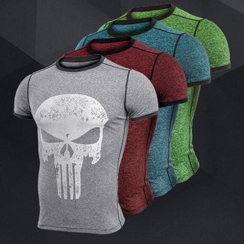 Compression Shirt Men Punisher Skull