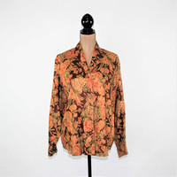 90s Rayon Shirt Floral Blouse Long Sleeve Tops Button Up Womens Brown Print Fall Medium Large Liz Claiborne Vintage Clothing Womens Clothing