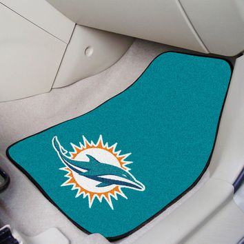 Miami Dolphins Car Mat Set - 2-Pc Carpeted Universal Fit