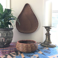 Large Tear Drop Rattan Basket, Woven Wall Basket, Unique Flat Basket Tray