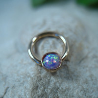 Septum Ring Gold MMS38 Fire Opal