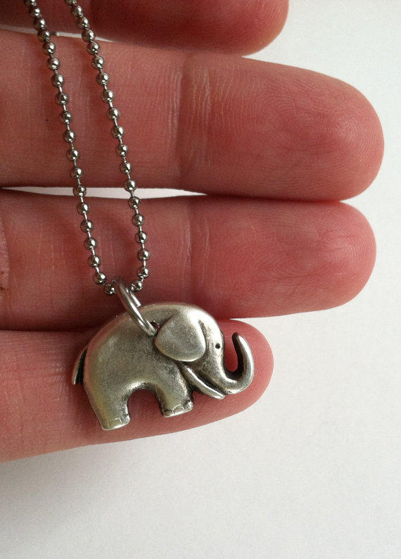 Elephant Necklace, Stainless Steel Fine Ball Chain, Lucky Elephant, Baby Elephant, Gift Box