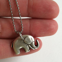 Baby Elephant Necklace, Stainless Steel Fine Ball Chain, Lucky Elephant, Gift Box