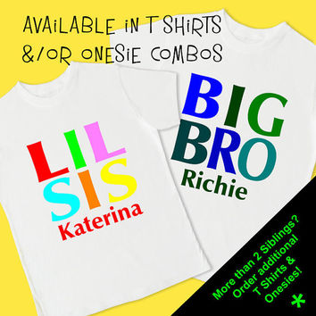 Big Bro & Lil Sis Set of 2 T Shirts. Personalized T Shirts and /or Onesuits. Big Little Lil Bro Brother Sis Sister Boy Girl Cousin. (1012S)