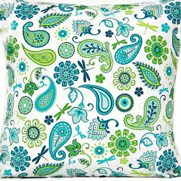 Paisley Pillow Cover Floral Dragonflies Turquoise Lime Green Navy Blue White  Decorative Repurposed 18x18