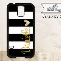 Black striped monogram cell phone case iPhone 4 4S 5 5s 5C 6 6+ Plus, Samsung Galaxy s3 s4 s5 s6, Personalized gift Faux glitter heart P3680