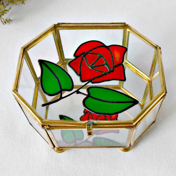 Glass and Brass Jewelry Box, Octagon Curio Box, Mirrored Trinket Box, Stained Glass Red Rose Box, Glass Display Box, Vanity Decor, Ring Box,