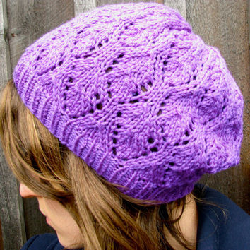 Lace Slouch Women's Hat Purple Knitted Beanie by GretaHoneycutt
