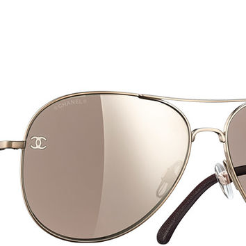 Chanel Sunglasses Pale gold & brown Pilot Signature | Online Boutique