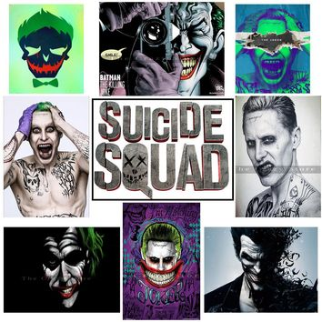 Suicide squad joker Vintage Retro rock band movie Guitar Matte  Antique Poster Wall Sticker Home Decora posters