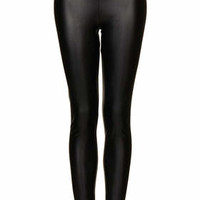 TEXTURED LEATHER LOOK LEGGINGS