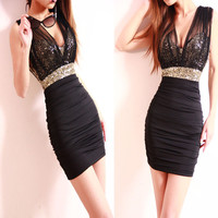 Slim Sexy Mesh Sequined Dress