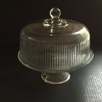 Ribbed Glass Domed Cake Stand, Clear Glass Footed Cake Stand with Lid, Clear Ribbed Glass Pedestal Cake Stand with Lid Convert to Punch Bowl