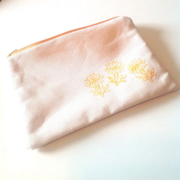 Yellow Lotus Flower Pouch - Medium Yoga Zipper Bag