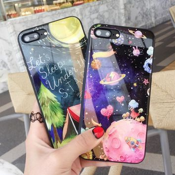 Universe and Forest Pattern Case for iPhone X 8 7 6S Plus &Gift Box