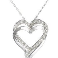 10k White Gold and Diamond Heart Pendant Necklace (1/4 cttw, H-I Color, I2-I3 Clarity), 18""