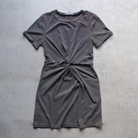 knot it knot-front t-shirt dress - black + white stripe