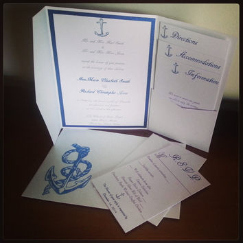 Blue and White Nautical Anchor Metallic Pocket Fold Wedding Invitations