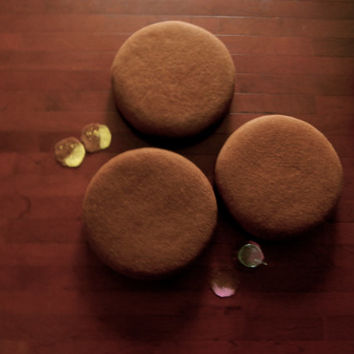 Chocolate Macaron Wool Felted Pillow, Wool Round Cushion/ Ottoman,  momoish made