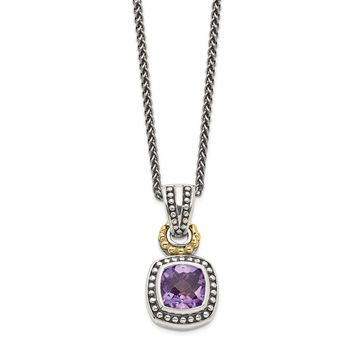 Sterling Silver Two Tone Silver And Gold Plated Sterling Silver w/Antiqued Amethyst Necklace