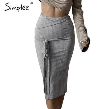 All-match high waist pencil skirt 2016 autumn grey women knitted skirts Sexy elastic bodycon skirt fabric ribbon belt