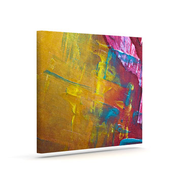 "Malia Shields ""Cityscape Abstracts III"" Pink Yellow Canvas Art"