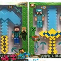 2015 Minecraft 5 inch 2pcs Figure toys+1pcs 15 inch sword (2 colors)+4pcs 2.5 inch weapons Childrens best gifts