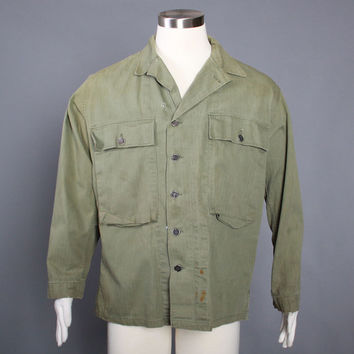 1940s HBT Usmc Army JACKET / WWII 40s Herringbone Twill Utility Fatigue Shirt