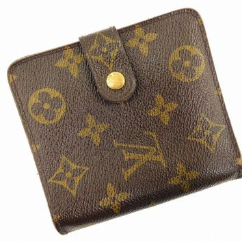 Authentic LOUIS VUITTON Compact Zip Monogram Bi-fold Wallet Brown #X15747