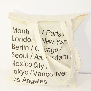 Cities Name Tote Bag Paris Bag New York Bag London Bag Tumblr City Names Canvas Organic Cotton Tote Bag