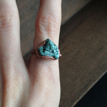 Blue Howlite Ring - Statement Ring - Unique Ring - Copper Ring - Semiprecious Stone Ring - SIZE 7