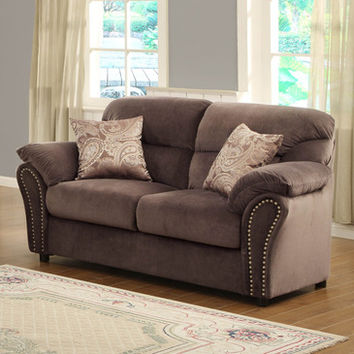 Homelegance Valentina Loveseat in Chocolate Microfiber